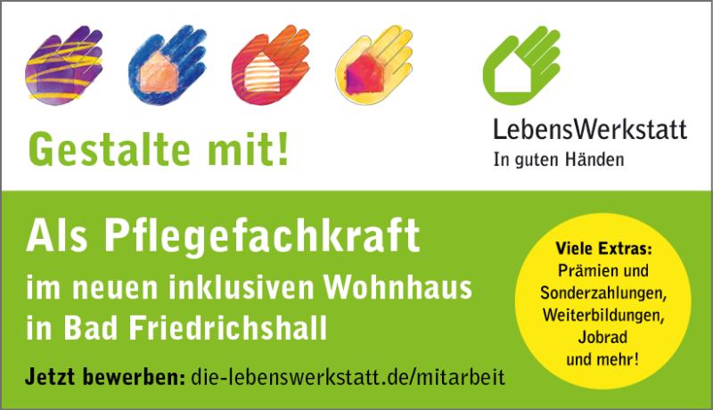 Jetzt bewerben als Pflegefachkraft im neuen inklusiven Wohnhaus in Bad Friedrichshall!